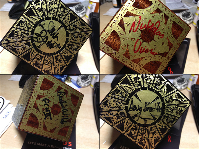 All 4 Cenobites Signed Hellraiser Puzzle Box